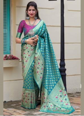 Blue Weaving Party Silk Saree