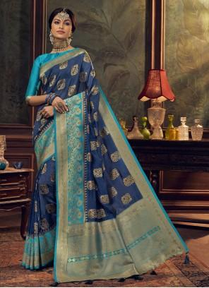 Blue Weaving Sangeet Designer Traditional Saree