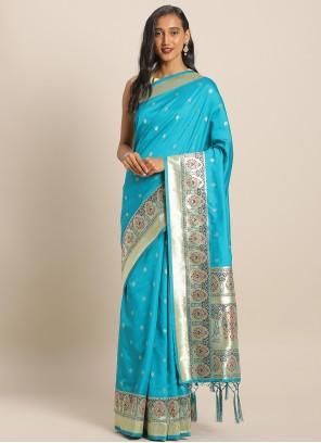 Blue Weaving Banarasi Silk Saree