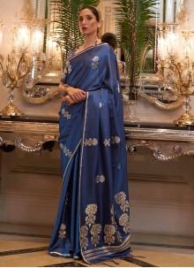 Blue Weaving Satin Classic Designer Saree