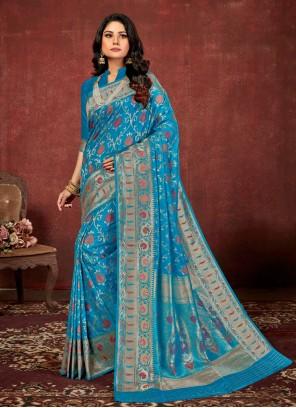 Blue Weaving Silk Classic Saree