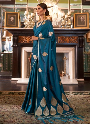 Blue Weaving Silk Designer Traditional Saree