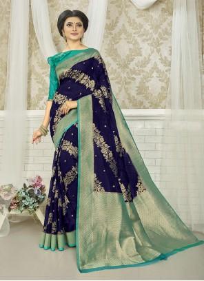 Blue Art Silk Weaving Silk Saree