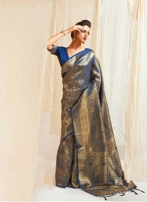 Blue Weaving Silk Traditional Saree