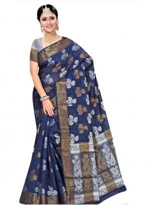 Blue Weaving Traditional Designer Saree