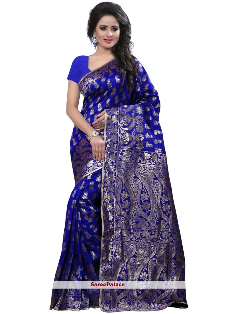 Blue Weaving Work Art Silk Traditional  Saree