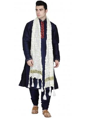 Blue Wedding Art Dupion Silk Kurta Pyjama
