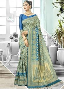 Blue Wedding Art Silk Designer Traditional Saree