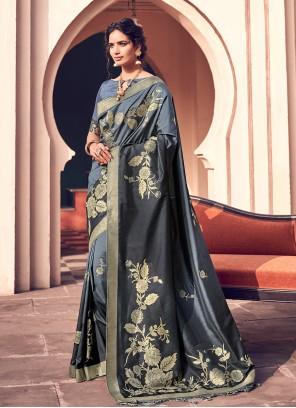 Blue Wedding Banarasi Silk Designer Bollywood Saree