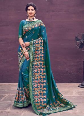 Blue Wedding Bollywood Saree
