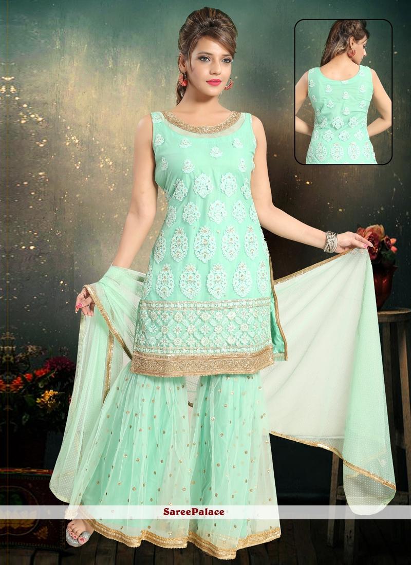 Blue Wedding Net Punjabi Suit
