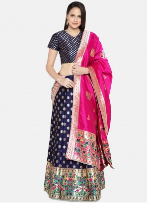 Blue Woven Banarasi Silk Lehenga Choli