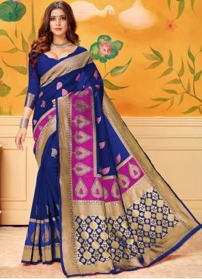 Blue Woven Casual Saree