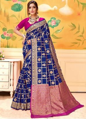 Blue Woven Casual Silk Saree
