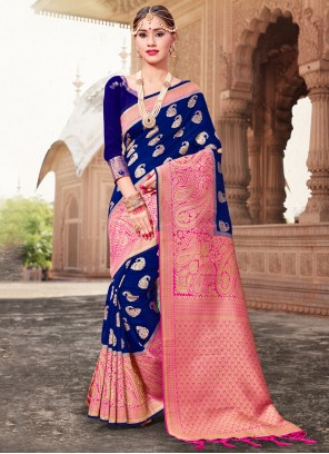 Blue Woven Ceremonial Traditional Saree