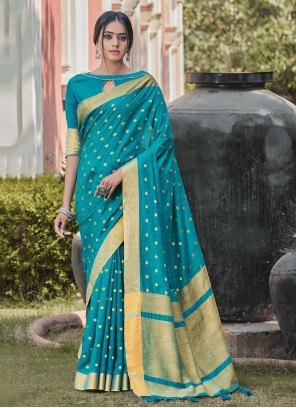 Blue Woven Designer Traditional Saree
