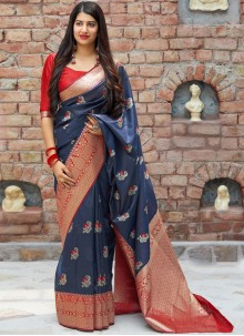 Blue Woven Festival Traditional Designer Saree
