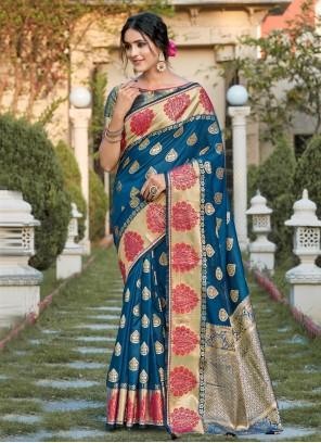 Blue Woven Silk Designer Traditional Saree
