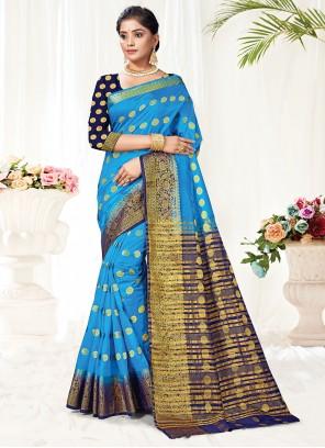 Blue Woven Silk Traditional Saree