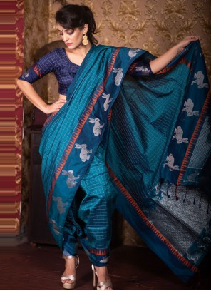 Blue Woven Traditional Saree