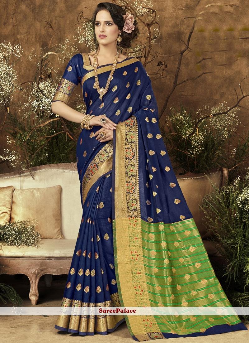 Blue woven Work Art Silk Traditional  Saree