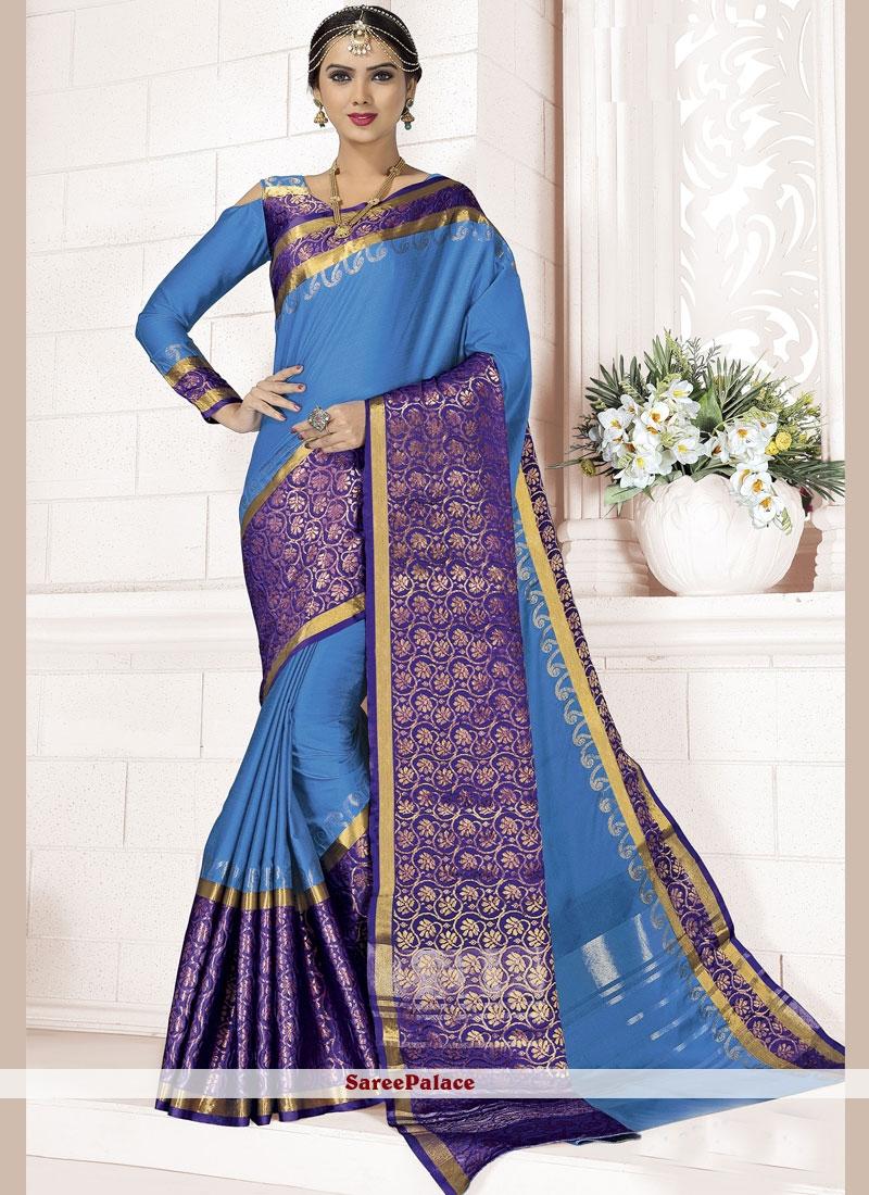Blue woven Work Designer Saree