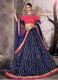 Blue Zari Net Designer Lehenga Choli