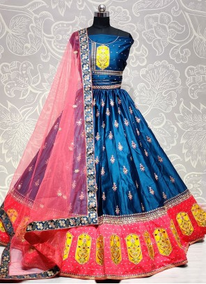 Blue Zari Silk Lehenga Choli