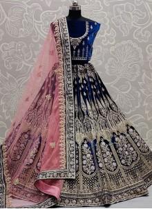 Blue Zari Velvet Embroidered Lehenga Choli