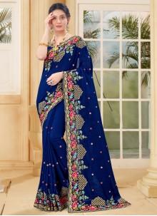 Blue Zari Vichitra Silk Designer Traditional Saree