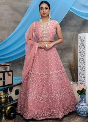 Bollywood Lehenga Choli Embroidered Net in Pink