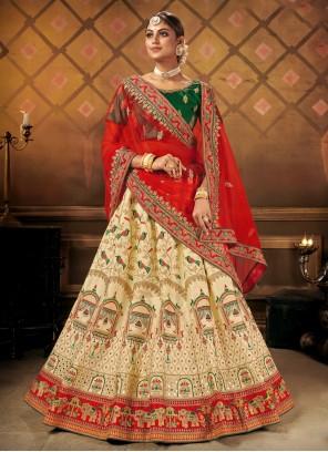 Bollywood Cream Lehenga Choli For Reception