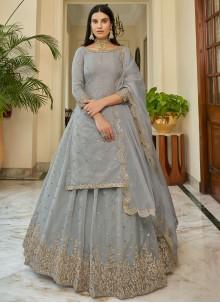 Bollywood Lehenga Choli Resham Organza in Grey