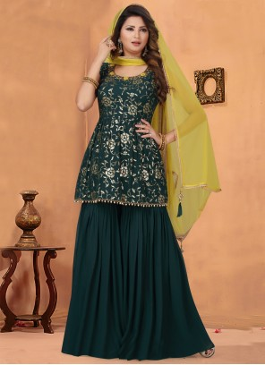 Bollywood Salwar Kameez Embroidered Georgette in Green