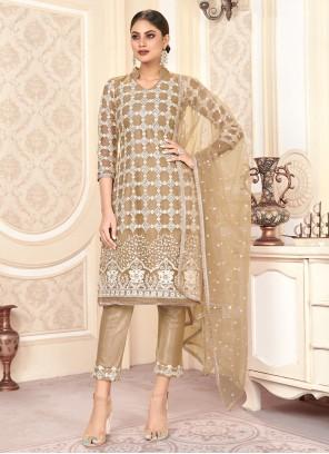 Bollywood Salwar Kameez Embroidered Net in Beige
