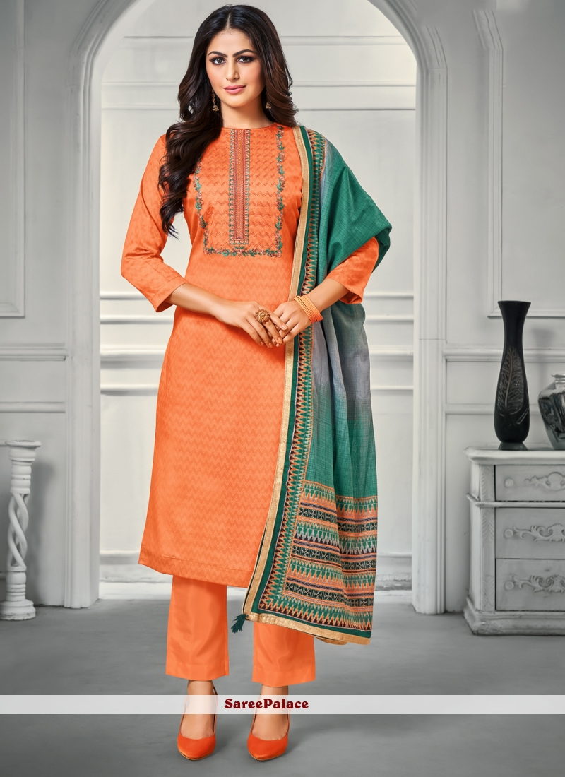 Bollywood Salwar Kameez Embroidered Satin in Orange