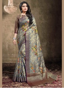 Bollywood Saree Digital Print Jacquard in Blue