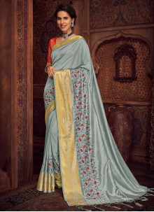 Bollywood Saree Embroidered Silk in Grey