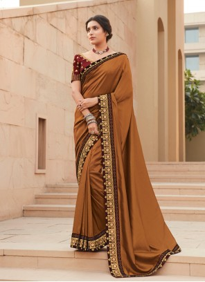Bollywood Brown Saree For Festival