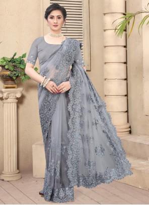Bollywood Grey Saree For Festival