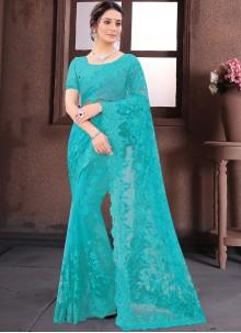 Aqua Blue Bollywood Saree For Reception