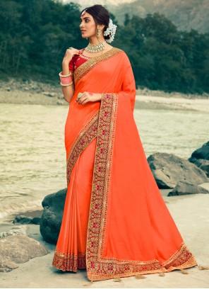 Bollywood Saree Patch Border Silk in Peach