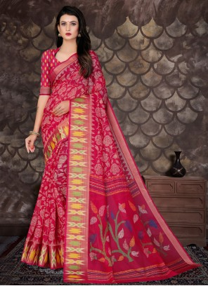 Bollywood Saree Printed Cotton in Pink