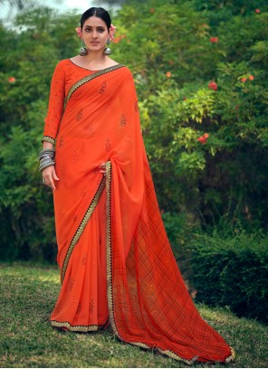Bollywood Saree Printed Georgette in Orange