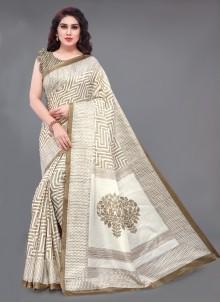 Bollywood Saree Printed Khadi Silk in Multi Colour