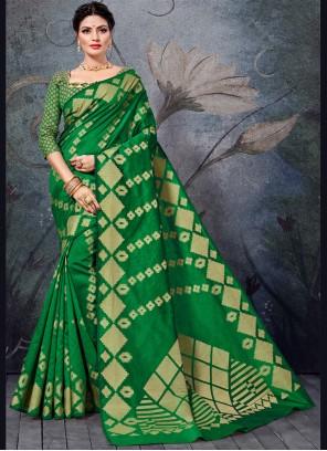 Bollywood Saree Weaving Handloom Cotton in Green
