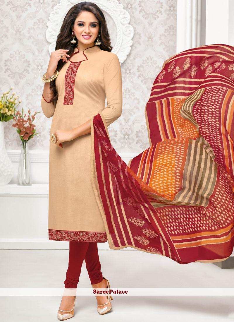 08ab6f500d Buy Border Beige Churidar Salwar Suit Online
