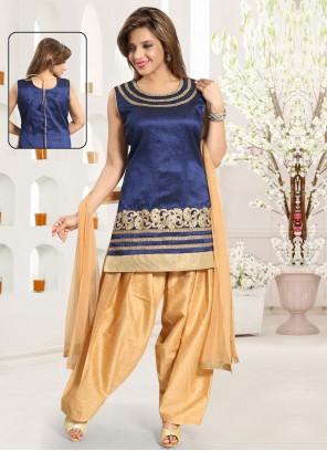 Border Blue Punjabi Suit
