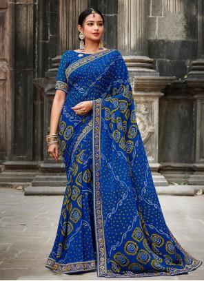 Border Blue Traditional Designer Saree