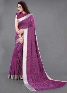 Border Cotton Casual Saree in Purple